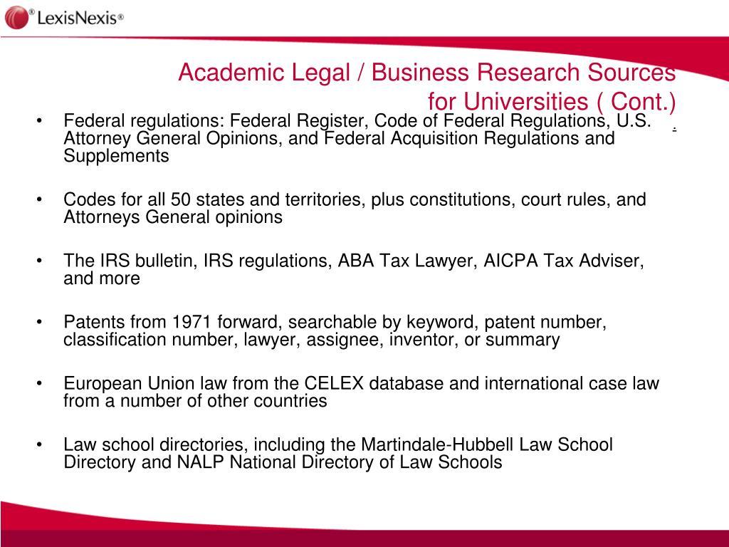Federal regulations: Federal Register, Code of Federal Regulations, U.S. Attorney General Opinions, and Federal Acquisition Regulations and Supplements