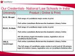 our credentials national law schools in india