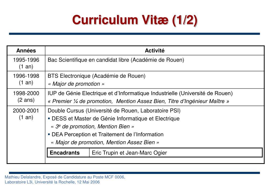 Curriculum Vitæ (1/2)