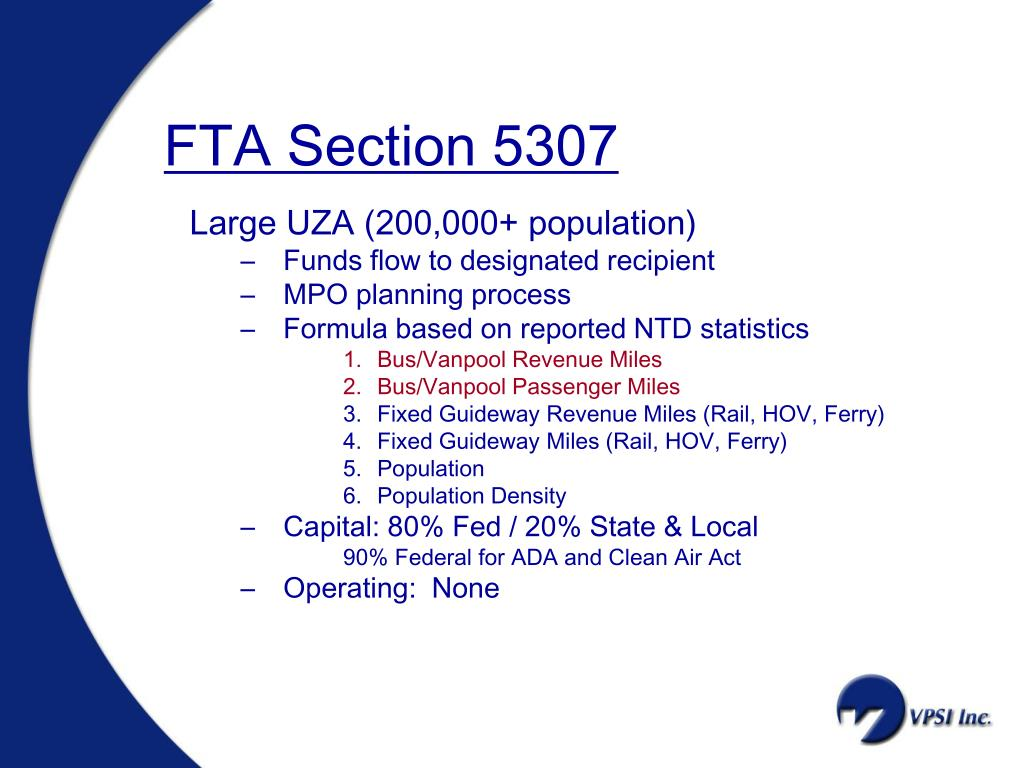 FTA Section 5307