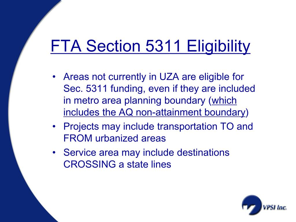 FTA Section 5311 Eligibility