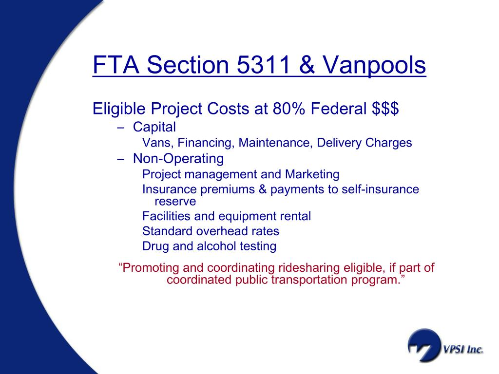 FTA Section 5311 & Vanpools