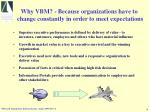 why vbm because organizations have to change constantly in order to meet expectations
