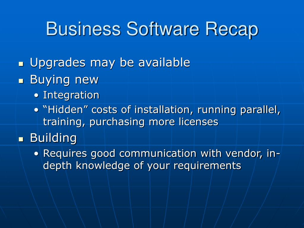 Business Software Recap