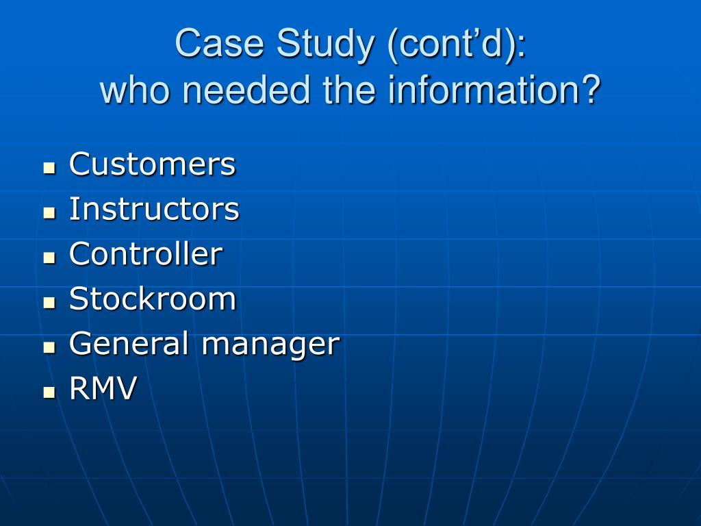 Case Study (cont'd):