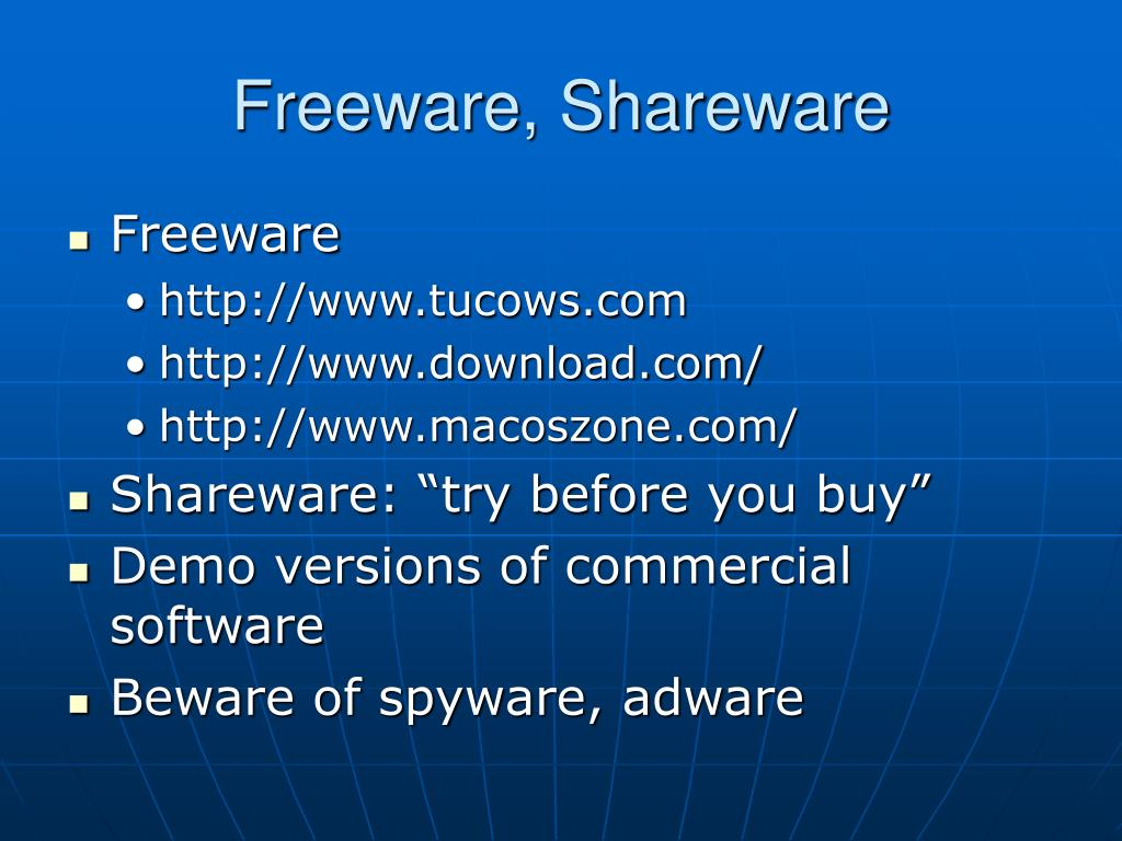 Freeware, Shareware