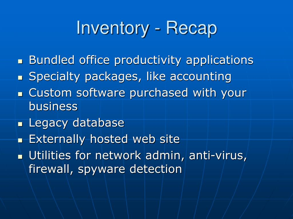 Inventory - Recap