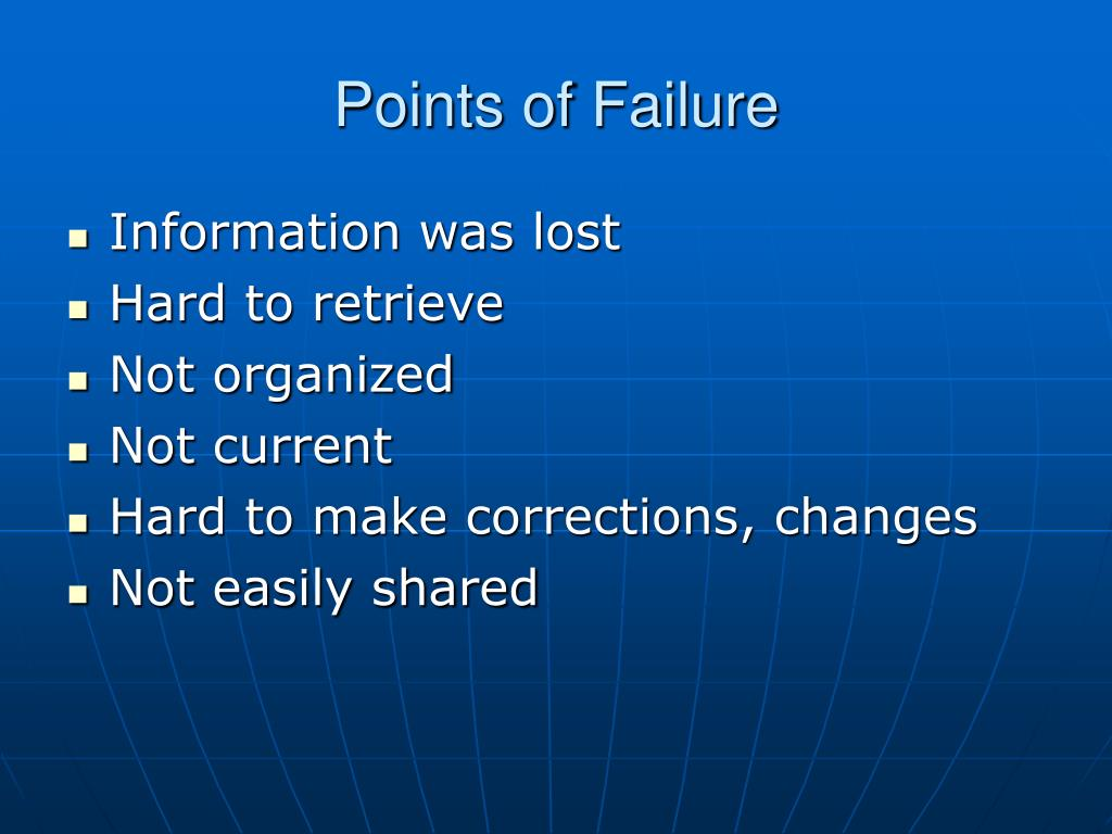 Points of Failure