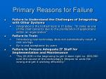 primary reasons for failure47
