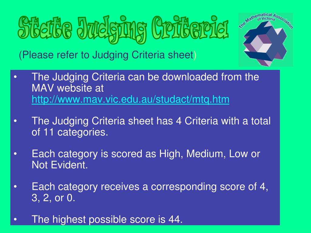 (Please refer to Judging Criteria sheet