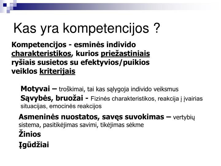Kas yra kompetencijos ?