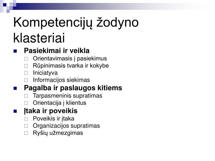 Kompetencijų žodyno klasteriai