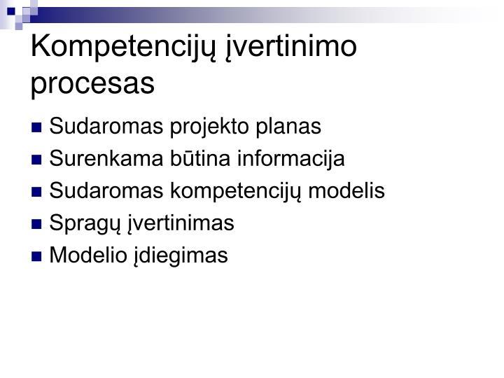 Kompetencijų įvertinimo procesas