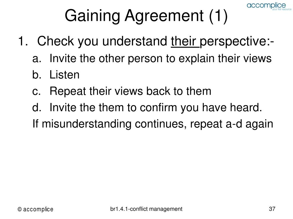 Gaining Agreement (1)