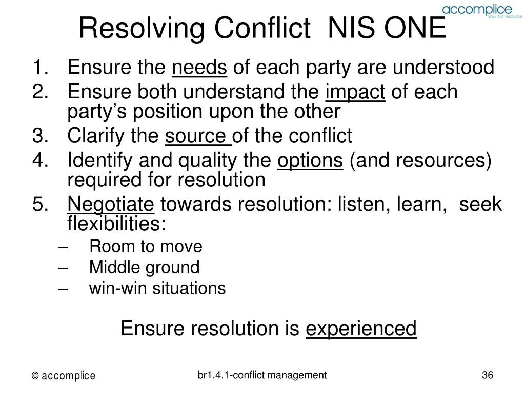 Resolving Conflict  NIS ONE