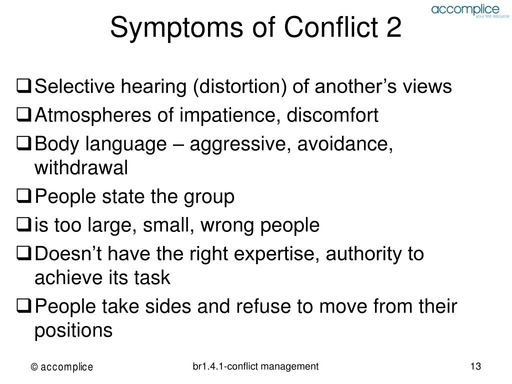 Symptoms of Conflict 2