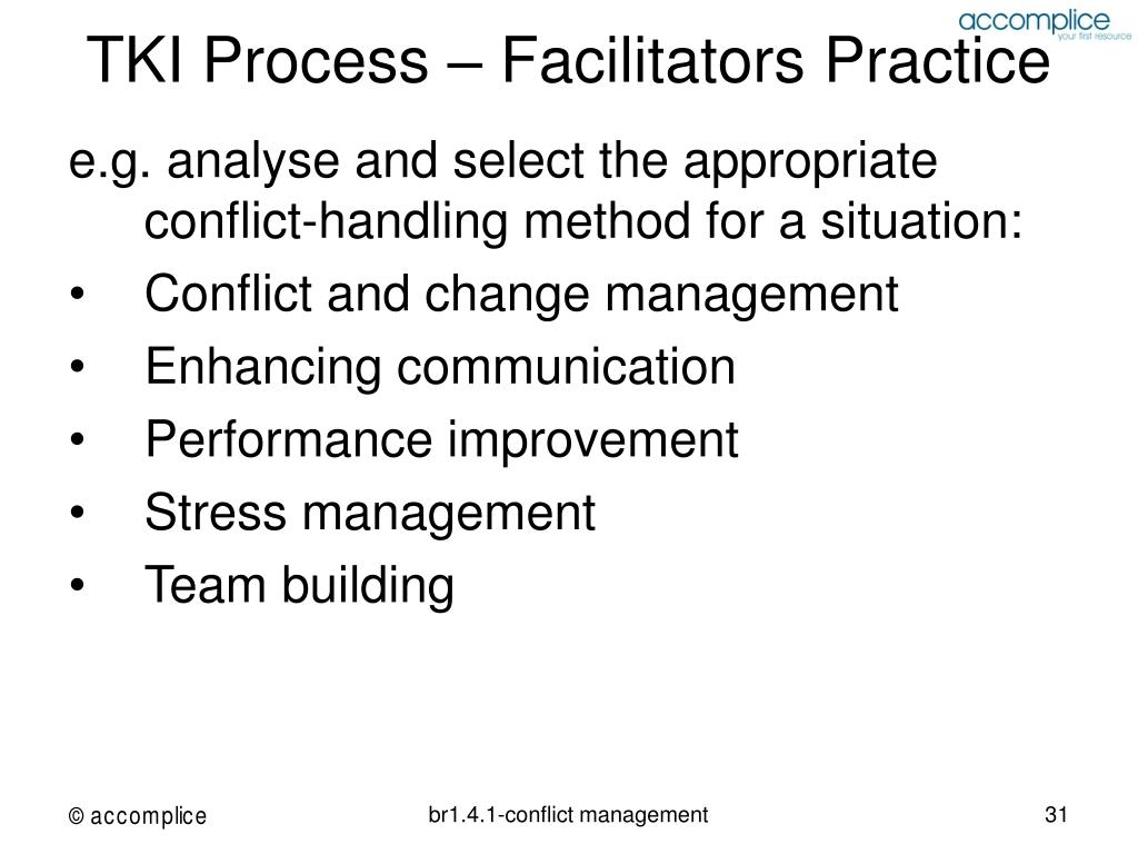 TKI Process – Facilitators Practice