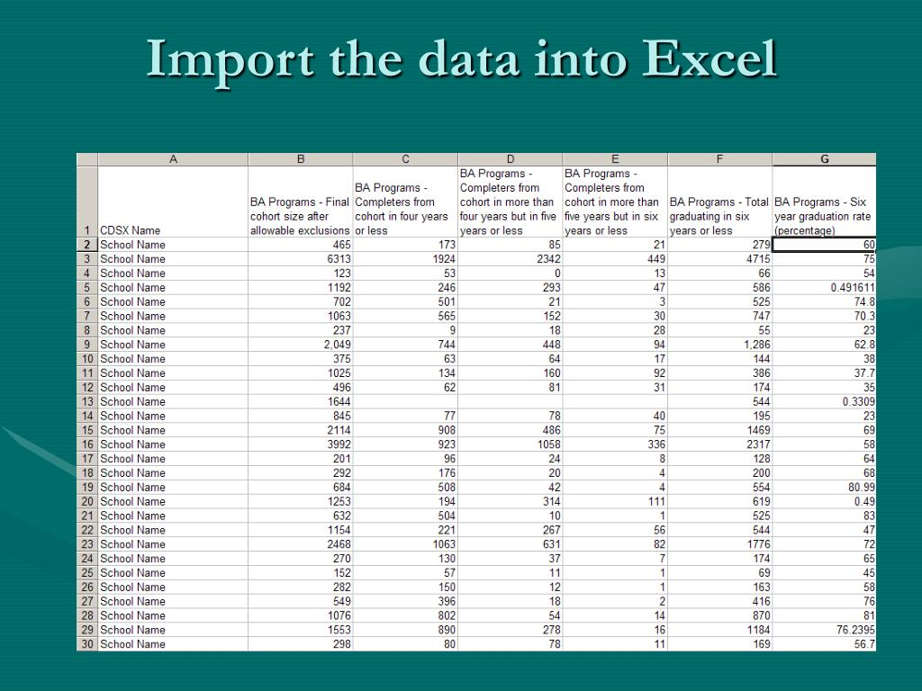 Import the data into Excel