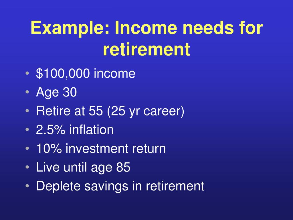 Example: Income needs for retirement