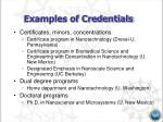 examples of credentials