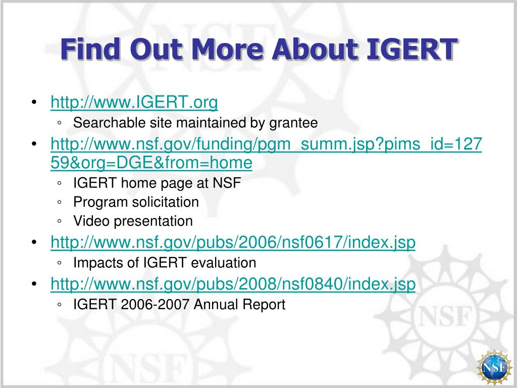 Find Out More About IGERT