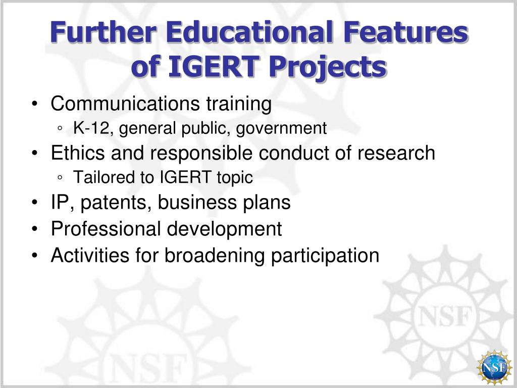 Further Educational Features of IGERT Projects