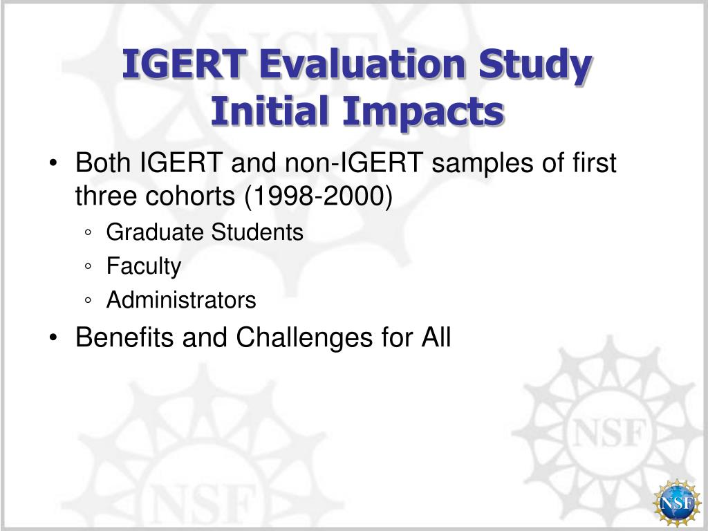 IGERT Evaluation Study