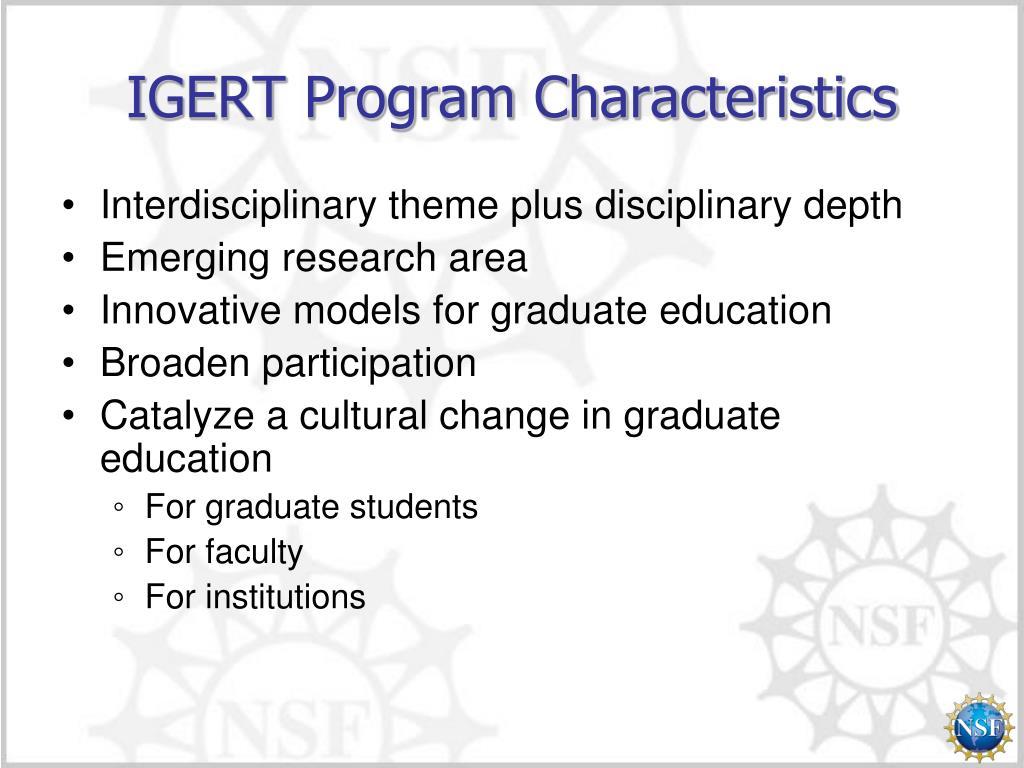 IGERT Program Characteristics