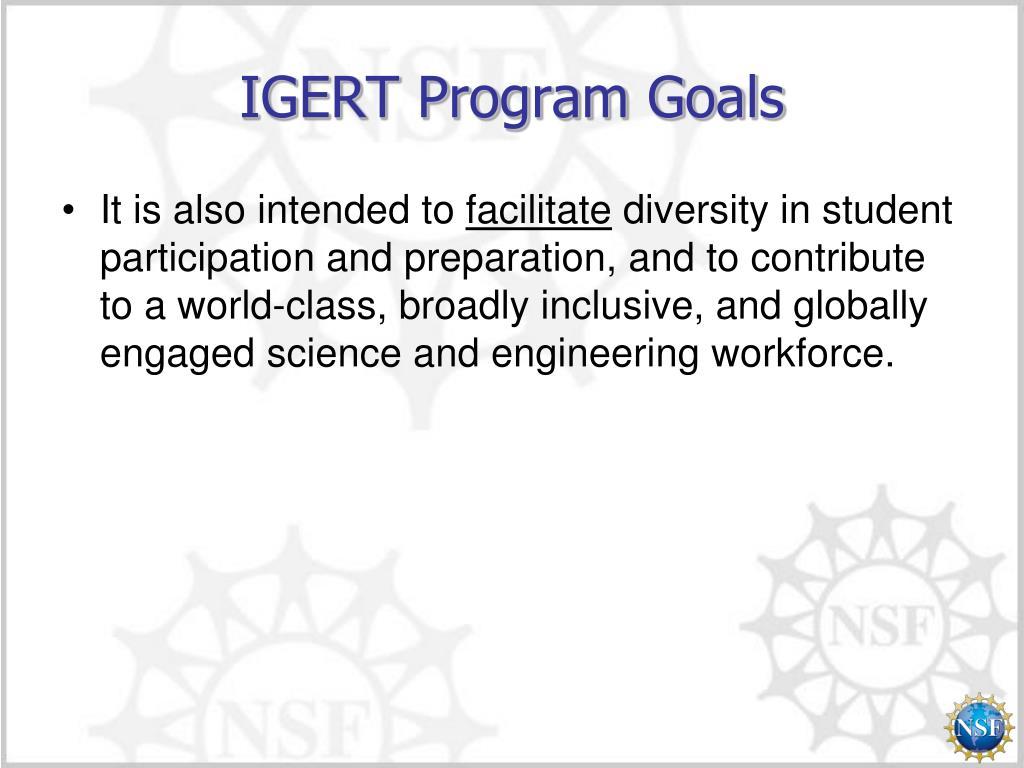 IGERT Program Goals