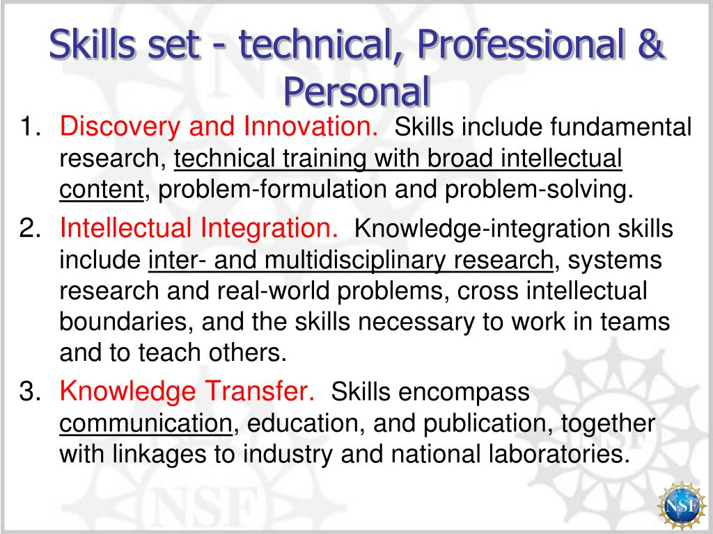 Skills set - technical, Professional & Personal