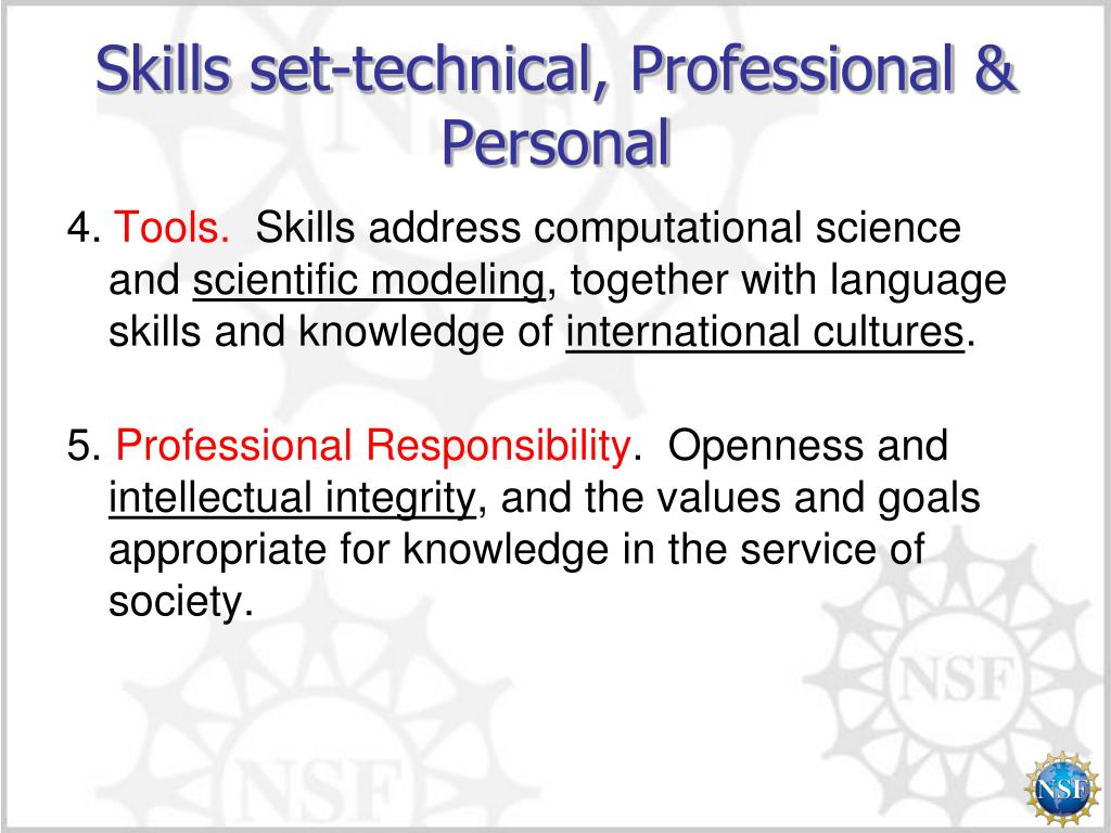 Skills set-technical, Professional & Personal