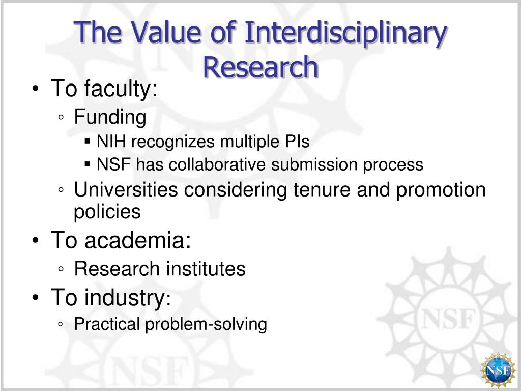 The Value of Interdisciplinary Research