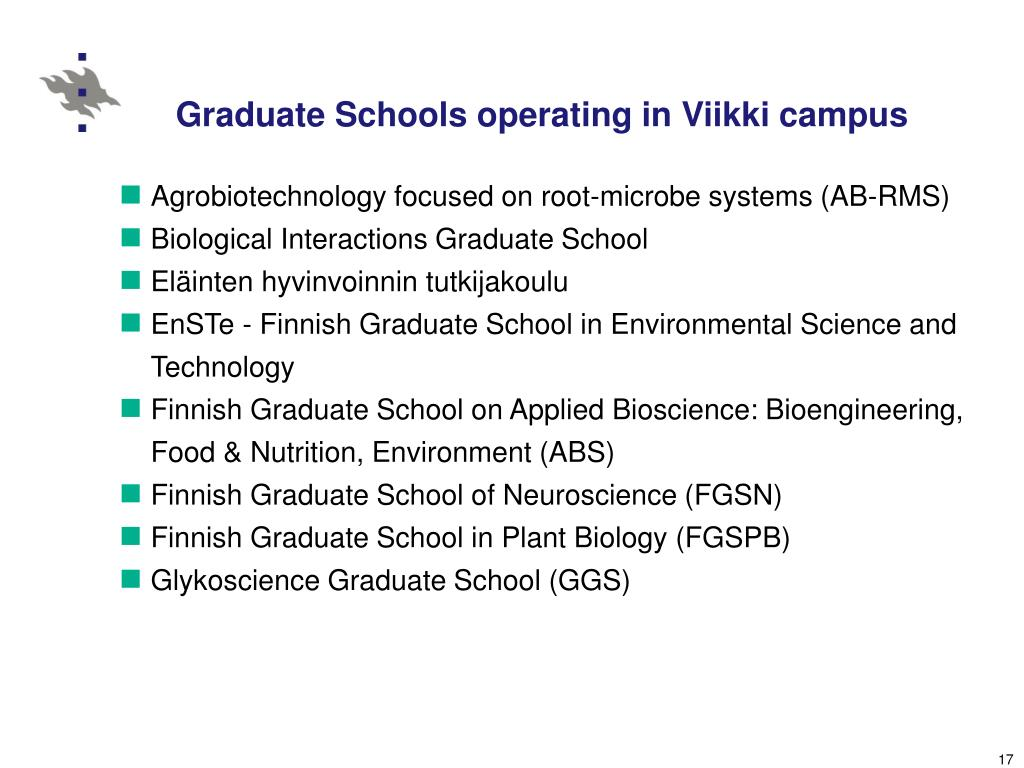 Graduate Schools operating in Viikki campus