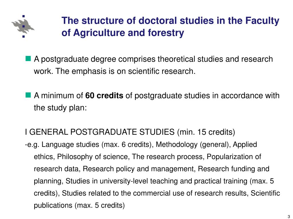 The structure of doctoral studies in the Faculty of Agriculture and forestry