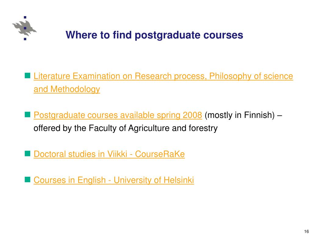 Where to find postgraduate courses