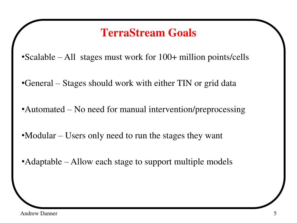 TerraStream Goals