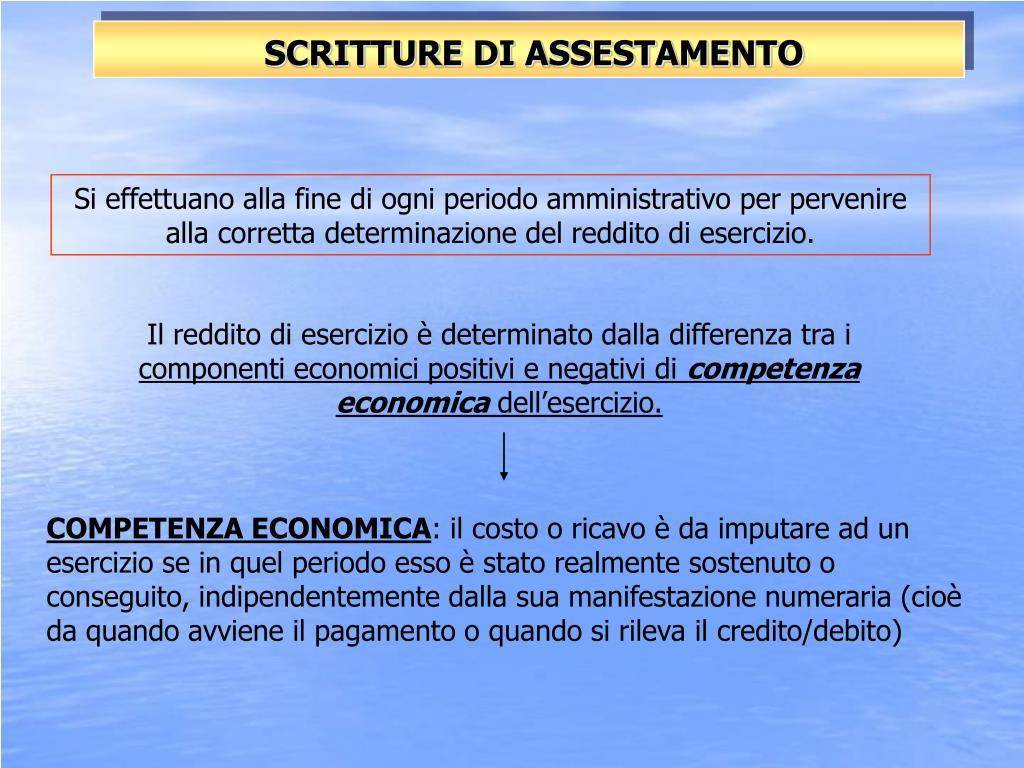 SCRITTURE DI ASSESTAMENTO