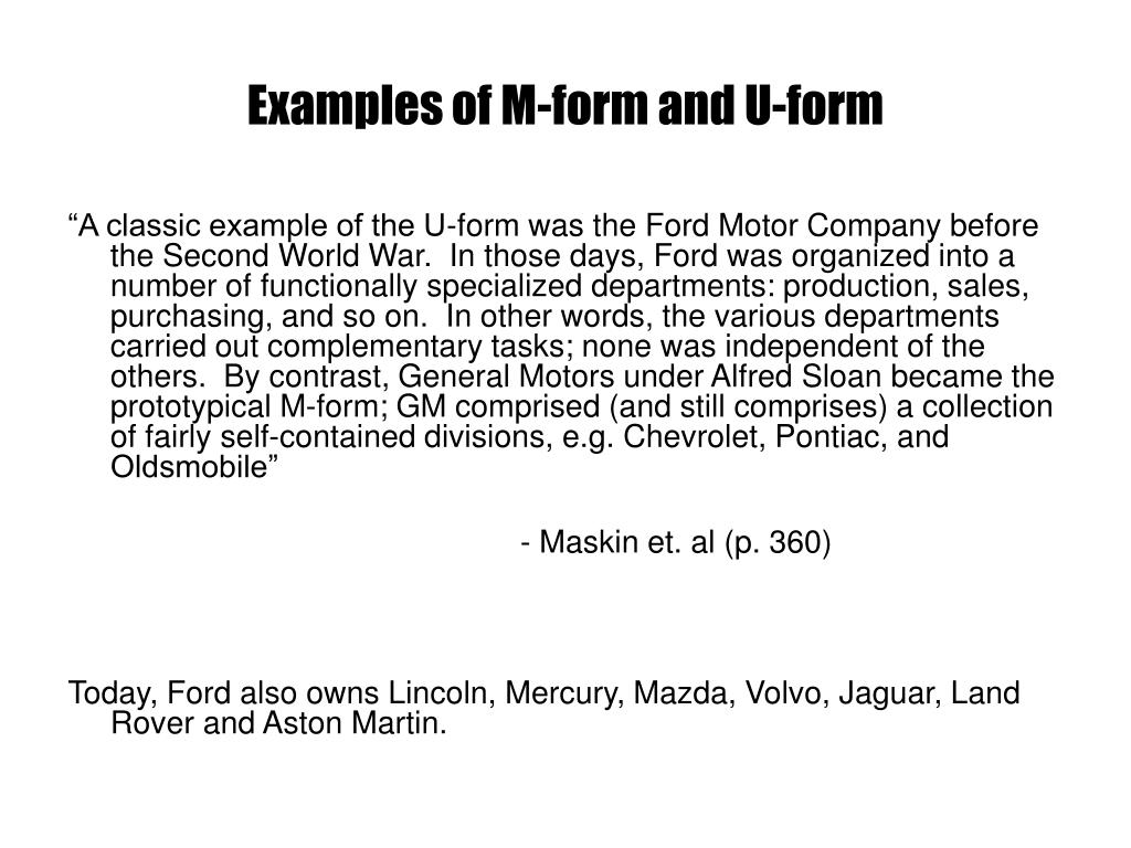 Examples of M-form and U-form