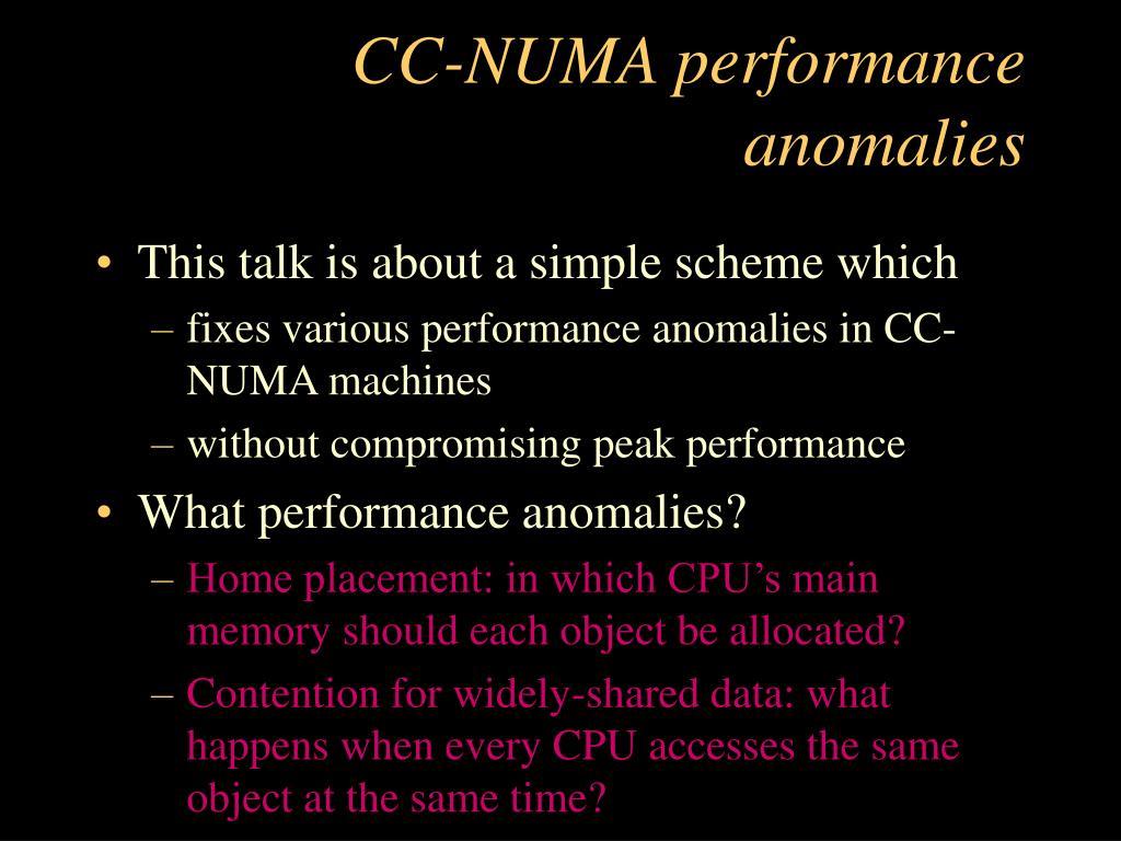 CC-NUMA performance anomalies