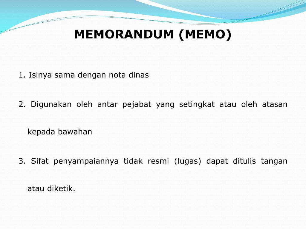 MEMORANDUM (MEMO)