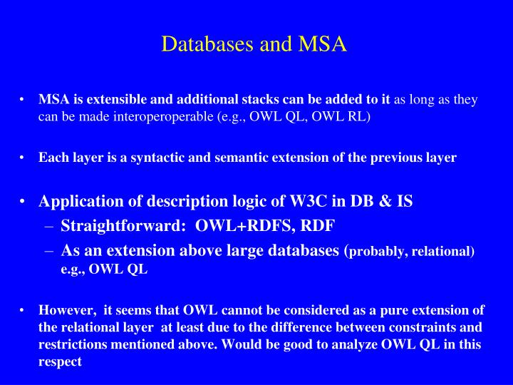 Databases and MSA