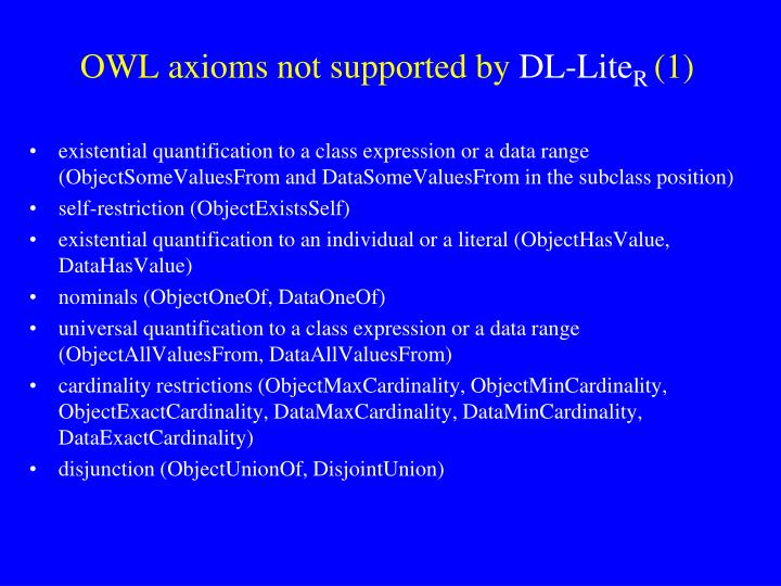 OWL axioms not supported by