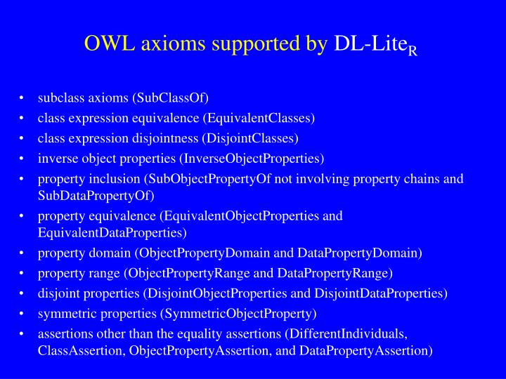 OWL axioms supported by