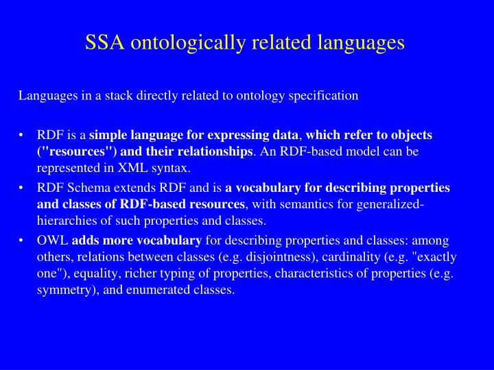 SSA ontologically related languages