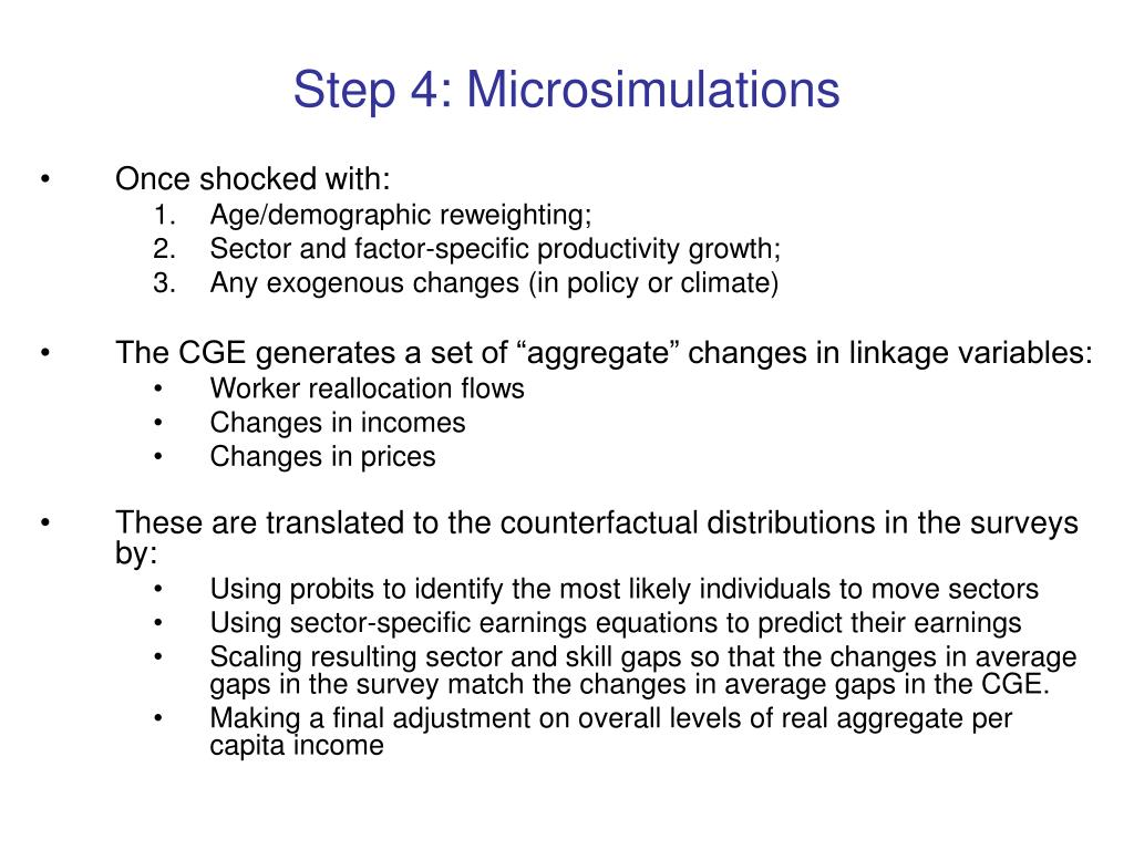Step 4: Microsimulations
