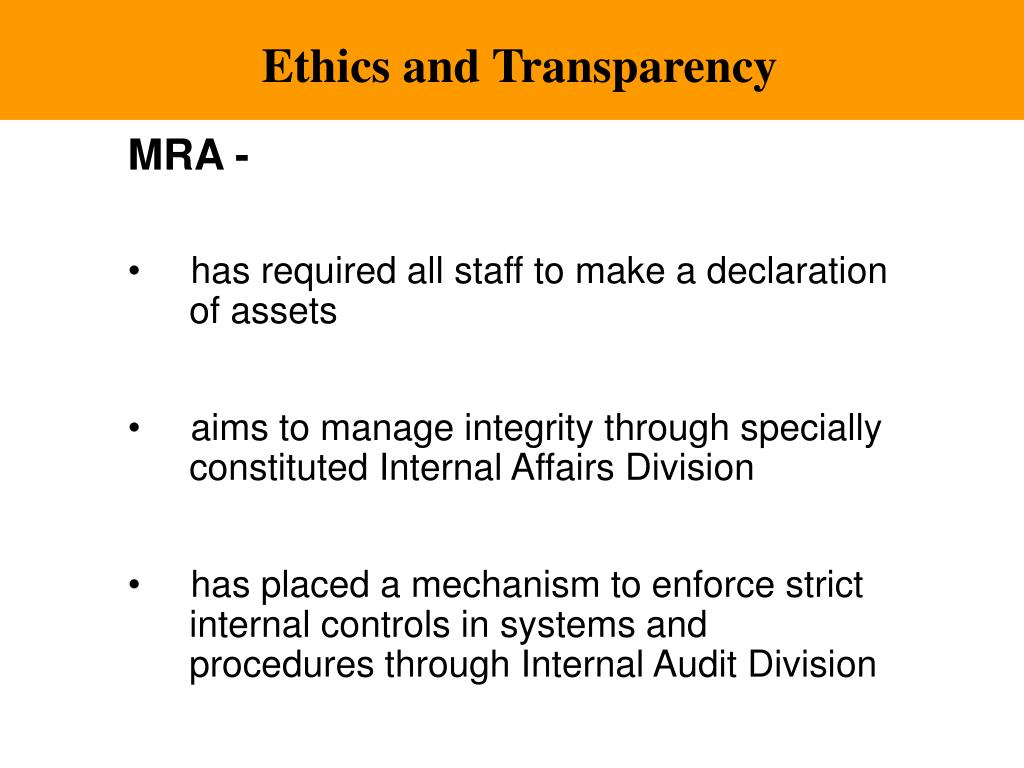 Ethics and Transparency