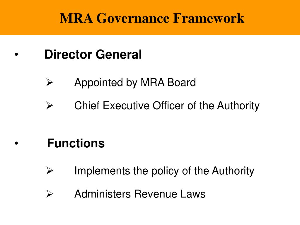 MRA Governance Framework