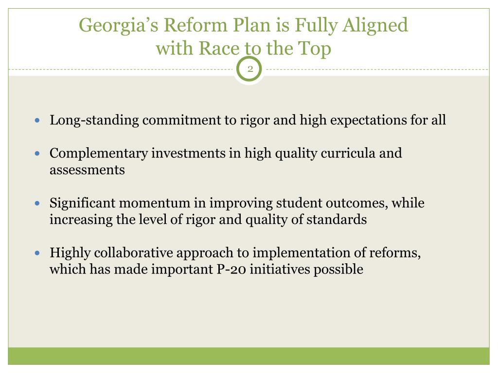 Georgia's Reform Plan is Fully Aligned