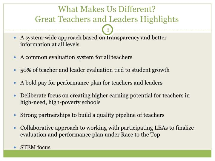 What makes us different great teachers and leaders highlights