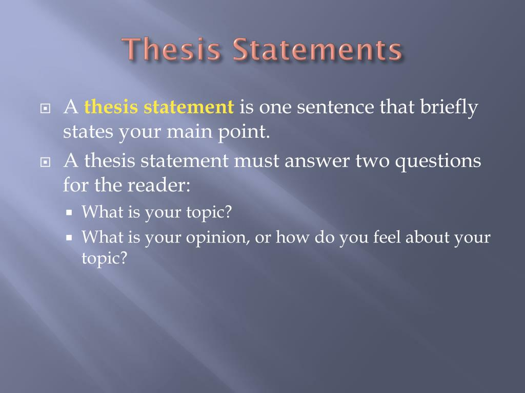 Can Thesis Statements Be Two Sentences